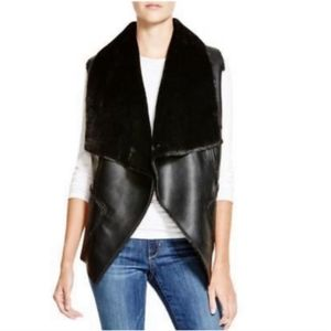 BLANK NYC Faux Leather Shearling Vest | Black